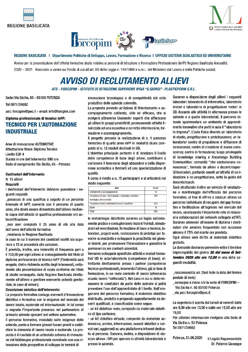 AVVISO DI RECLUTAMENTO ALLIEVI: TECNICO PER L'AUTOMAZIONE INDUSTRIALE